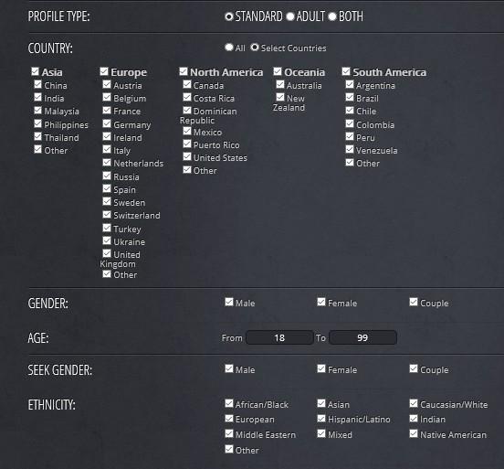 dating profile menu