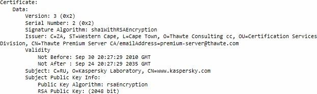 kaspersky fake certificate