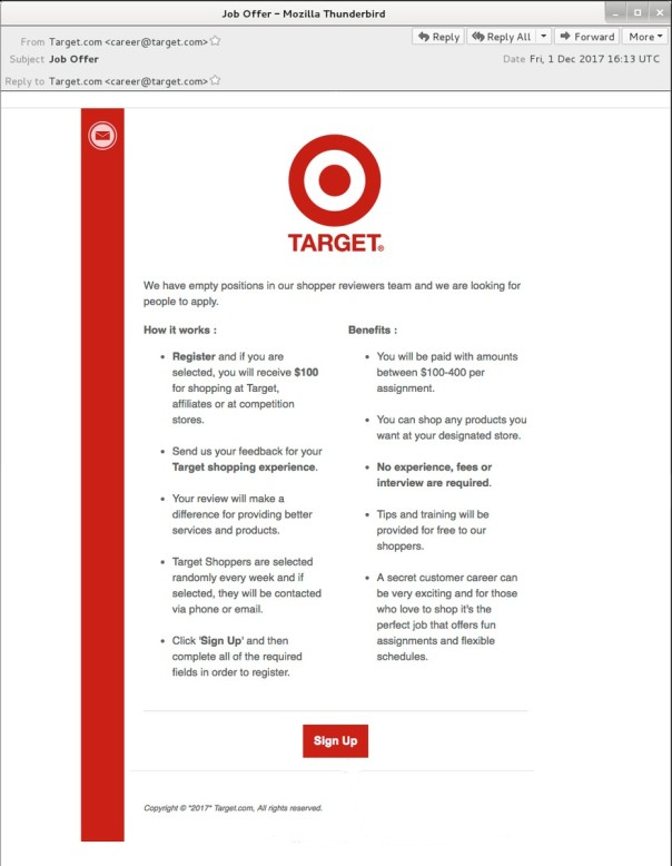 target email unnoted