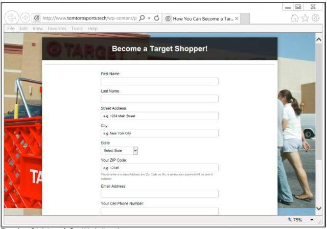 Target shopper form