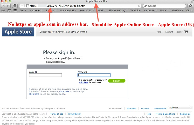 apple fake login